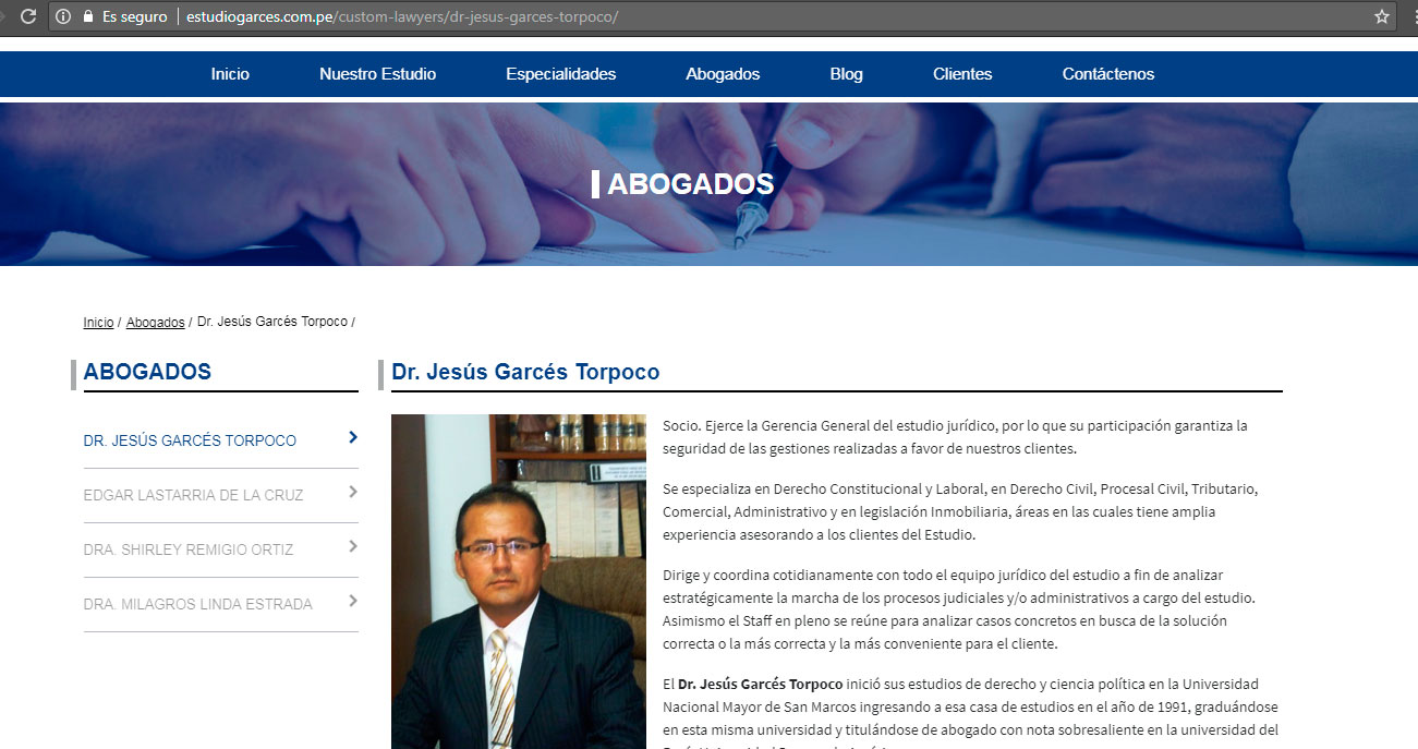 diseño pagina web abogados peru